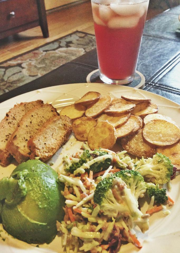 Tenderloin, Broccoli Salad, Avocado, and Homemade Potato Chips
